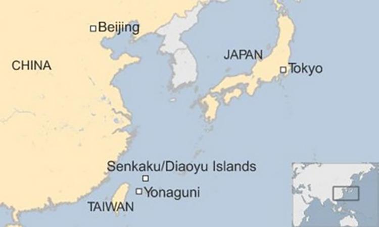 Vị trí nhóm đảo tranh chấp Senkaku/Điếu Ngư trên Biển Hoa Đông. Đồ họa:BBC.