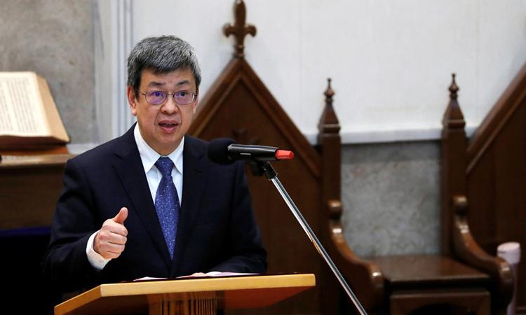 Phó lãnh đạo Đài Loan Trần Kiến Nhân trong bài phát biểu tại Đài Bắc, năm 2018. Ảnh: Reuters.