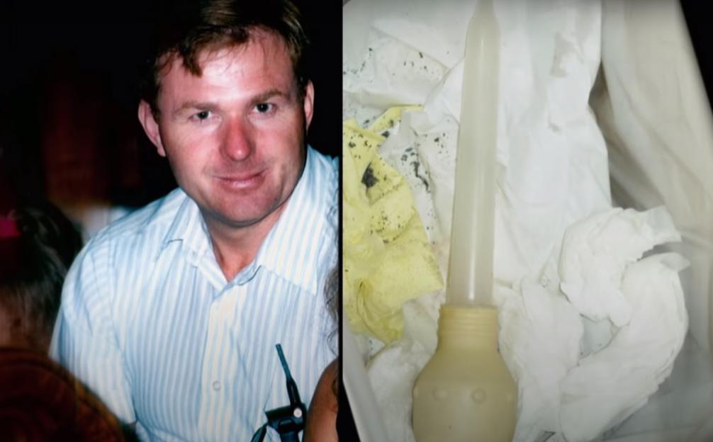 David Castor và chiếc ống bơm tang vật. Ảnh: Filmrise.
