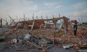 Hiện trường đổ nát sau vụ sập công trình