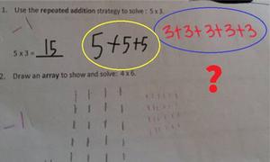 Bài toán tiểu học của Mỹ 5 x 3 gây tranh cãi