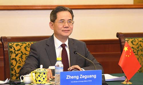 Thứ trưởng Trung Quốc Trịnh Trạch Quang tại hội nghị với các quốc đảo Thái Bình Dương hôm 13/5. Ảnh: Bộ Ngoại giao Trung Quốc.