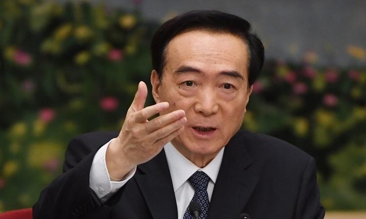 Bí thư Tân Cương Trần Toàn Quốc phát biểu tại một cuộc họp của phái đoàn Tân Cương tại Đại hội đại biểu nhân dân toàn quốc ở Bắc Kinh tháng 3/2019. Ảnh: AFP.