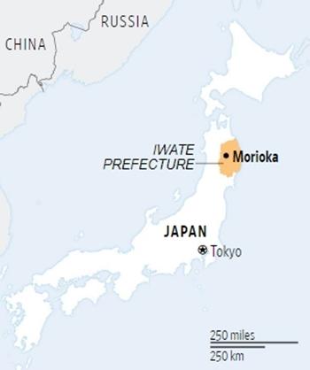 Vị trí của Iwate. Đồ họa: WSJ.
