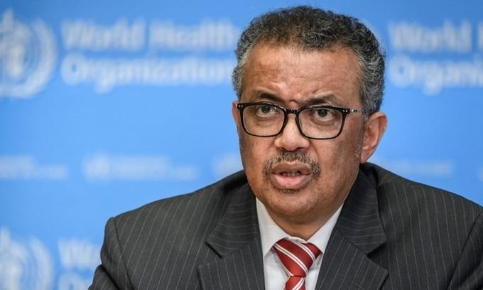 Tổng giám đốc WHO Tedros Adhanom Ghebreyesushọp báo tại Thụy Sĩ ngày 11/3. Ảnh:AFP.
