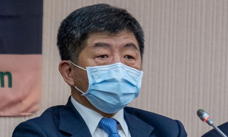 Người đứng đầu cơ quan y tế Đài Loan Trần Thời Trung trong cuộc họp báo về nỗ lực tham dự WHA tại Đài Bắc hôm 15/5. Ảnh:Reuters