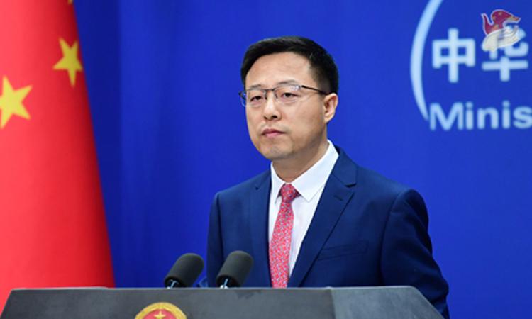 Phát ngôn viên Bộ Ngoại giao Trung Quốc Triệu Lập Kiên tại cuộc họp báo ở Bắc Kinh ngày 11/5. Ảnh:BNG Trung Quốc.