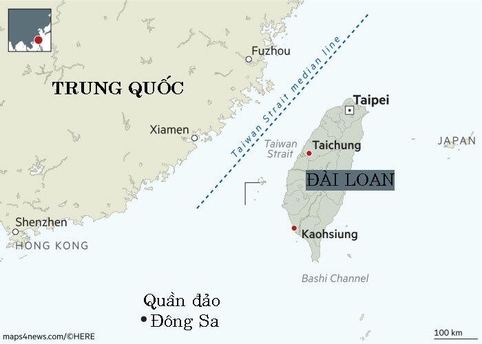 Đường trung tuyến (màu xanh) dọc eo biển Đài Loan. Đồ họa: FT.