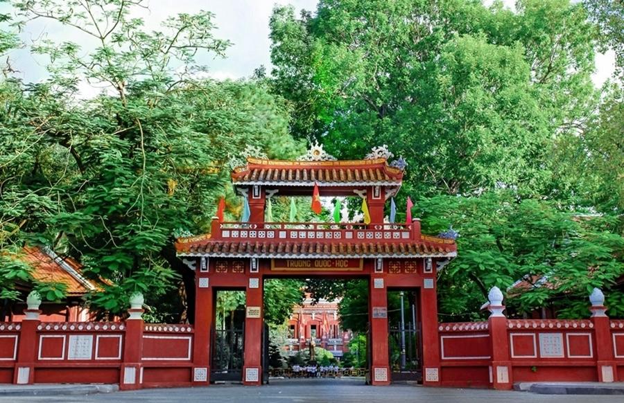 Cổng trường THPT chuyên Quốc học Huế, Thừa Thiên Huế. Ảnh: Đoàn trường THPT chuyên Quốc học Huế