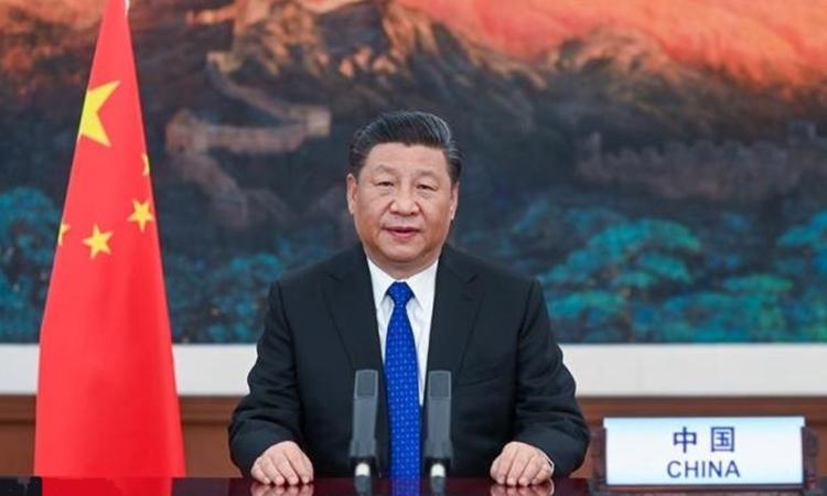 Chủ tịch Trung Quốc Tập Cận Bình trong cuộc họp trực tuyến của WHO ngày 18/5. Ảnh: Peoples Daily.