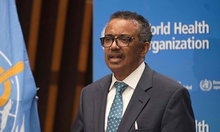 Giám đốc WHO Tedros Adhanom Ghebreyesus phát biểu khai mạc WHA tại Geneva, Thụy Sĩ hôm qua. Ảnh: AFP.