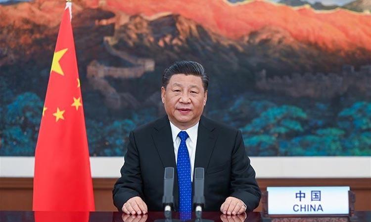 Chủ tịch Trung Quốc Tập Cận Bình tại cuộc họp trực tuyến của Đại hội đồng Y tế Thế giới hôm 18/5. Ảnh: Xinhua.