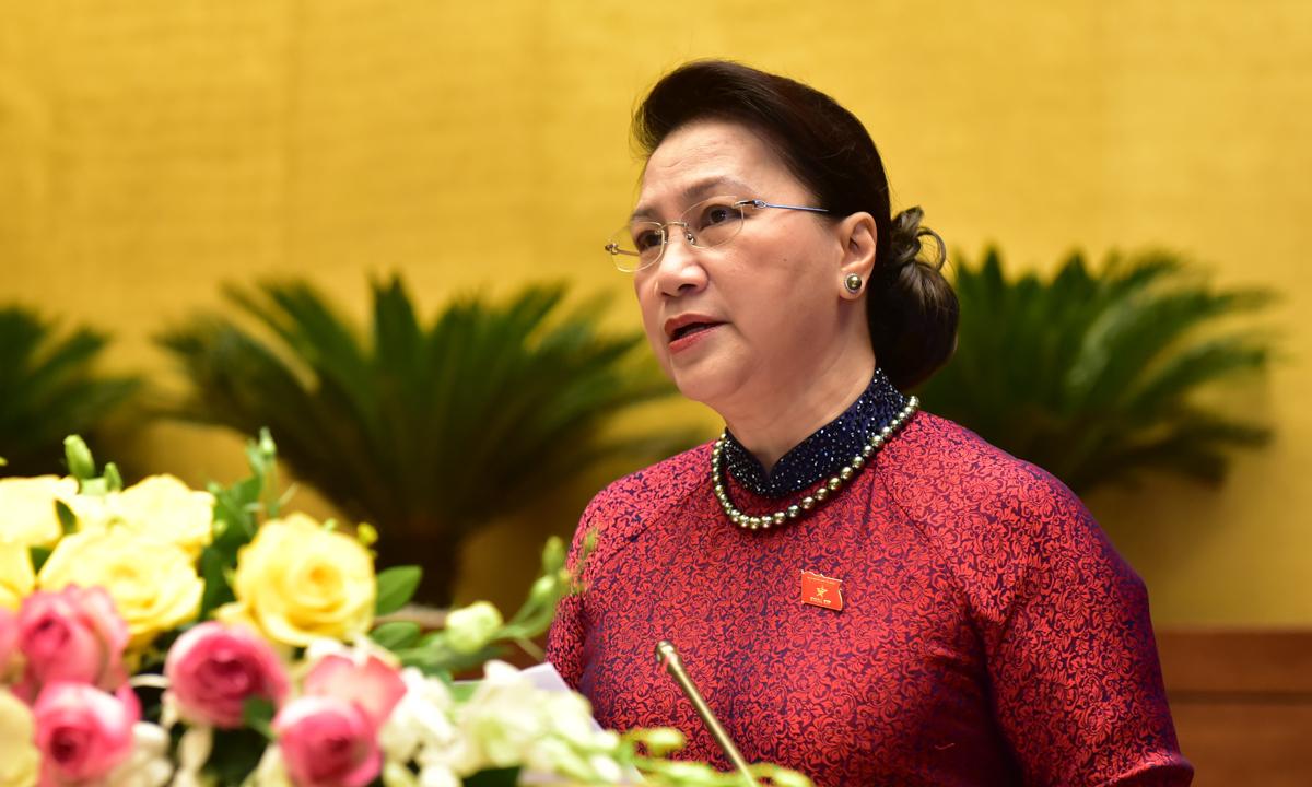 Chủ tịch Quốc hội Nguyễn Thị Kim Ngân phát biểu khai mạc kỳ họp. Ảnh: Hoàng Phong.