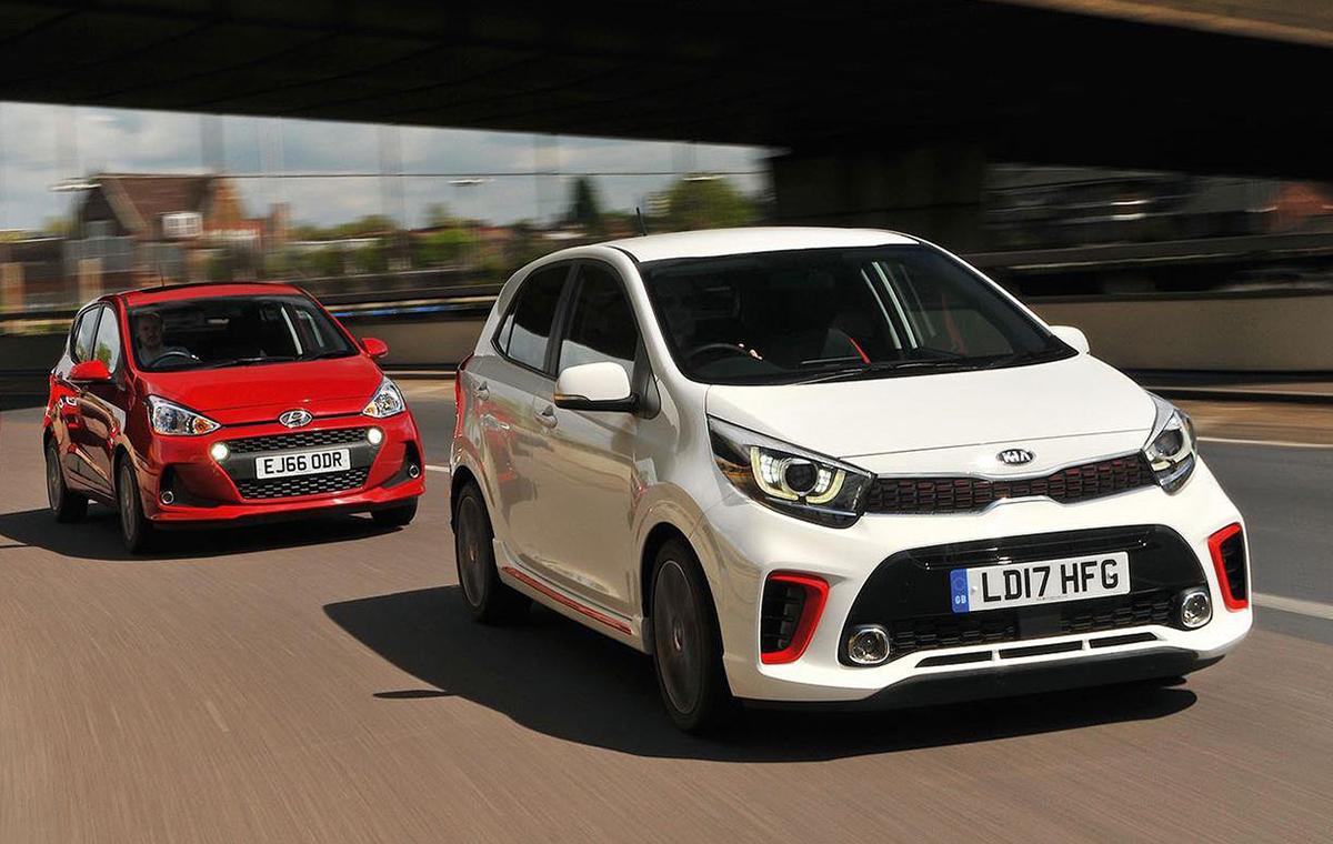 Cặp xe nhỏ Kia Morning (Picanto) và Hyundai i10. Ảnh: Wharcar UK