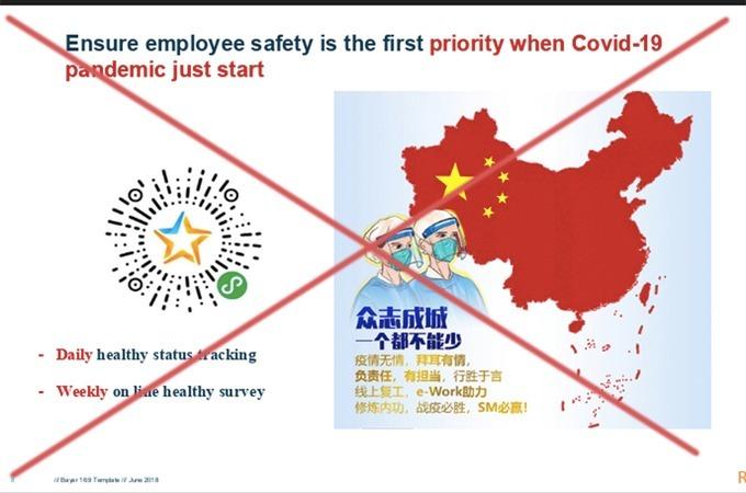 Bản đồ đường lưỡi bò trong tài liệu được Tổng giám đốc Bayer Việt Nam chia sẻ cho các nhân viên.
