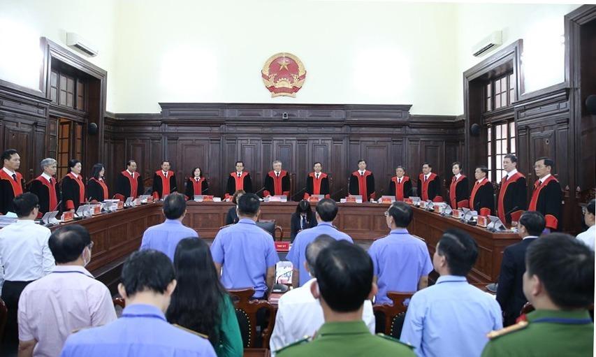 Phiên giám đốc thẩm có toàn bộ 17 thẩm phán cao cấp của Việt Nam. Ảnh:TTXVN.