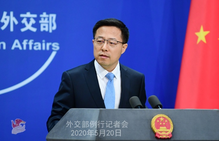 Phát ngôn viên Bộ Ngoại giao Trung Quốc Triệu Lập Kiên tại buổi họp báo ở Bắc Kinh hôm 20/5. Ảnh: Bộ Ngoại giao Trung Quốc.