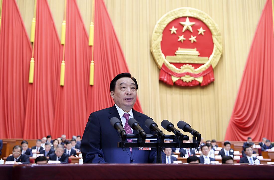 Ông Vương Thần phát biểu tại kỳ họp NPC hôm nay. Ảnh: Xinhua.