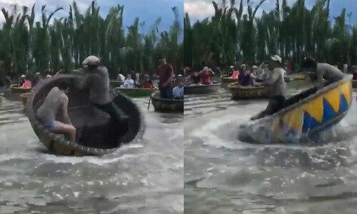 Hoa hậu Hàn Quốc rơixuống nước khi chơi thuyền thúng  - 1