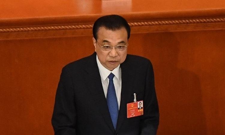 Thủ tướng Trung Quốc Lý Khắc Cường phát biểu tại phiên khai mạc kỳ họp quốc hội ở Bắc Kinh hôm nay. Ảnh: AFP.