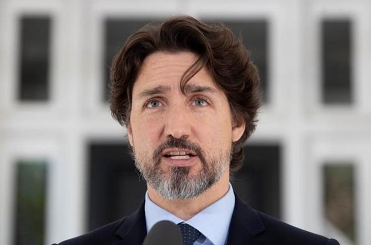 Thủ tướng Canada Justin Trudeau phát biểu về luật an ninh Hong Kong được đề xuất hôm 22/5. Ảnh: CBS.
