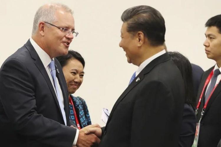 Thủ tướng AustraliaScott Morrison, trái, và Chủ tịch Trung Quốc Tập Cận Bình. Ảnh: SMH.
