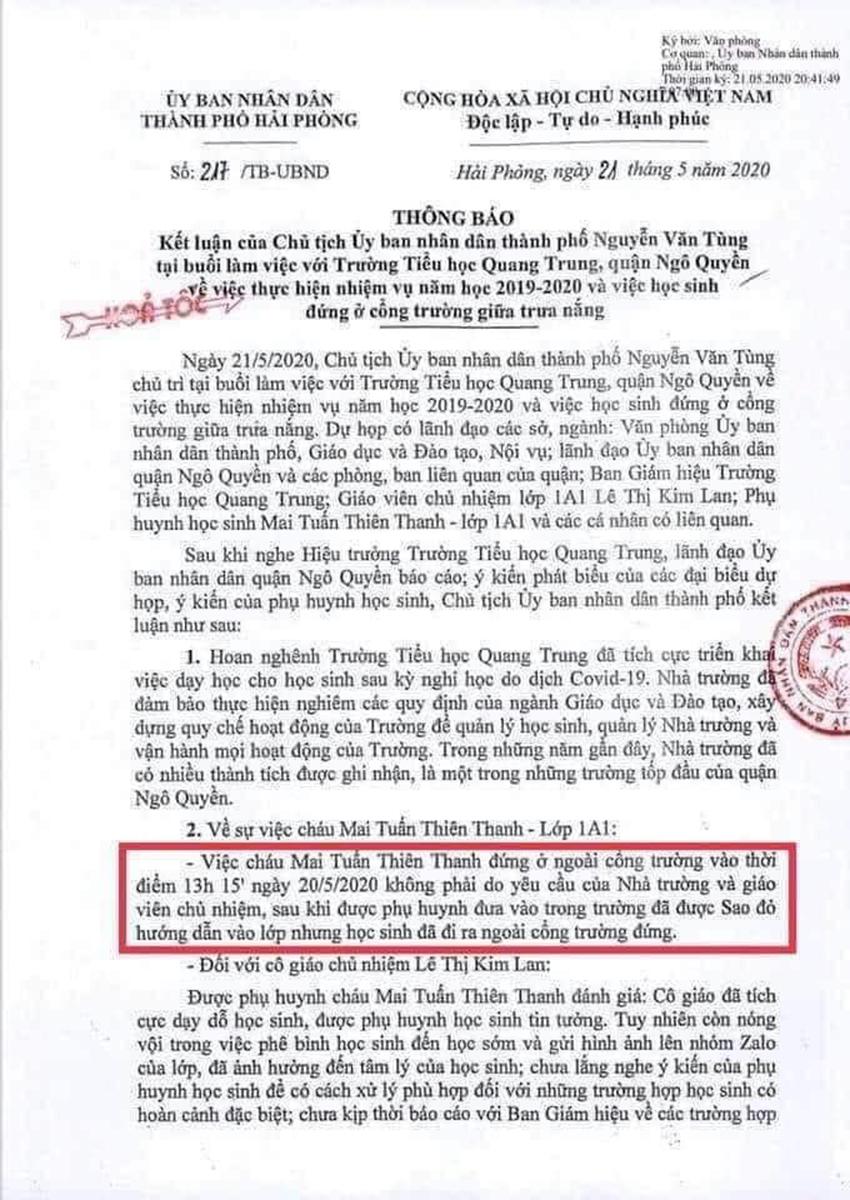 Phụ huynh học sinh lớp 1 A1 trường tiểu học Quang Trung, Ngô Quyền, Hải Phòng không đồng ý với nội dung bản thông báo kết luận số 217 ngày 21/5 của UBND thành phố.