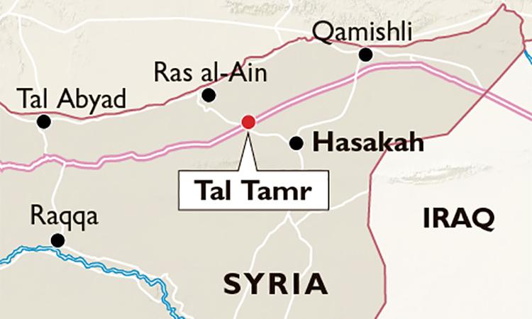 Vị trí thành phốTal Tamr của Syria nằm trên cao tốc M4. Đồ họa: Times.