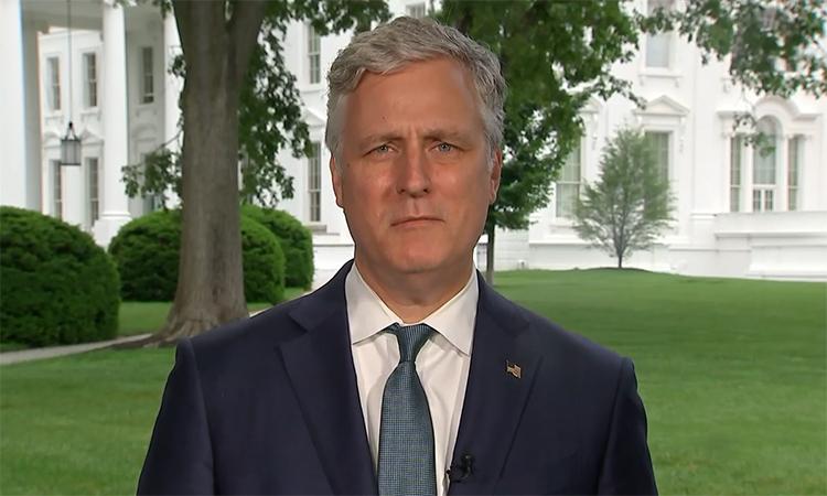 Cố vấn an ninh quốc gia Robert OBrien trong cuộc phỏng vấn với NBC tại Nhà Trắng, ngày 24/5. Ảnh: NBC.