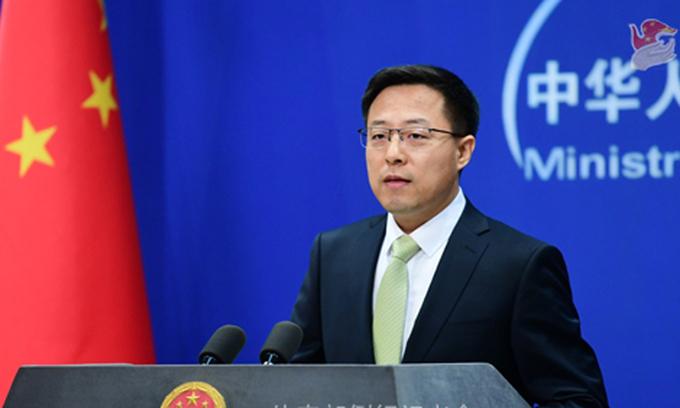Phát ngôn viên Bộ Ngoại giao Trung Quốc Triệu Lập Kiên tại buổi họp báo hôm 19/5. Ảnh:Bộ Ngoại giao Trung Quốc.