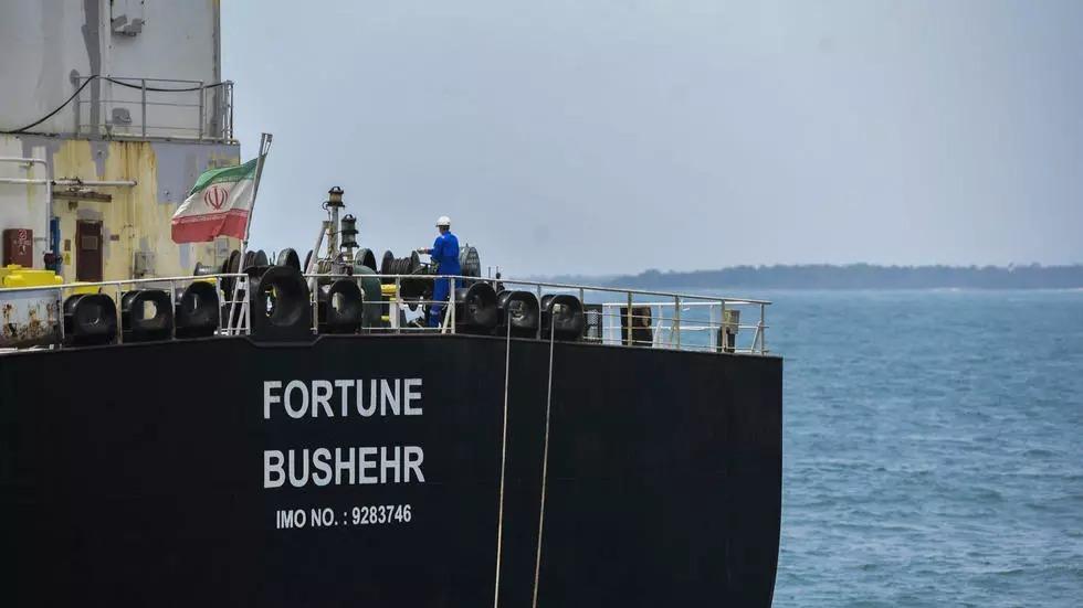Tàu dầu Fortune của Iran neo đậu tạiCarabobo, phía bắc Venezuela hôm 25/5. Ảnh: AFP.