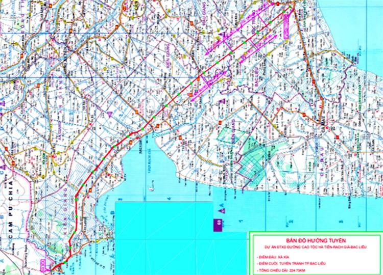 Bản đồ hướng tuyến cao tốc Hà Tiên - Rạch Giá - Bạc Liêu. Ảnh: Tỗng công ty đầu tư phát triển và quản lý dự án hạ tầng giao thông Cửu Long