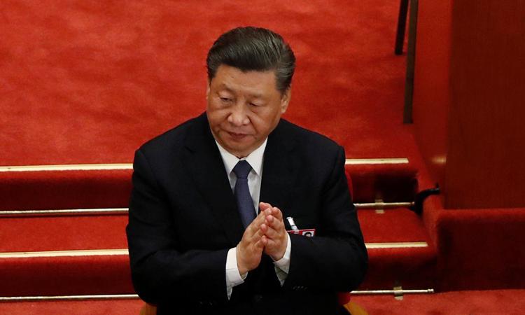 Chủ tịch Trung Quốc Tập Cận Bình tại phiên khai mạc kỳ họp quốc hội thường niên tại Đại lễ đường Nhân dân ở Bắc Kinh hôm 22/5. Ảnh: Reuters.
