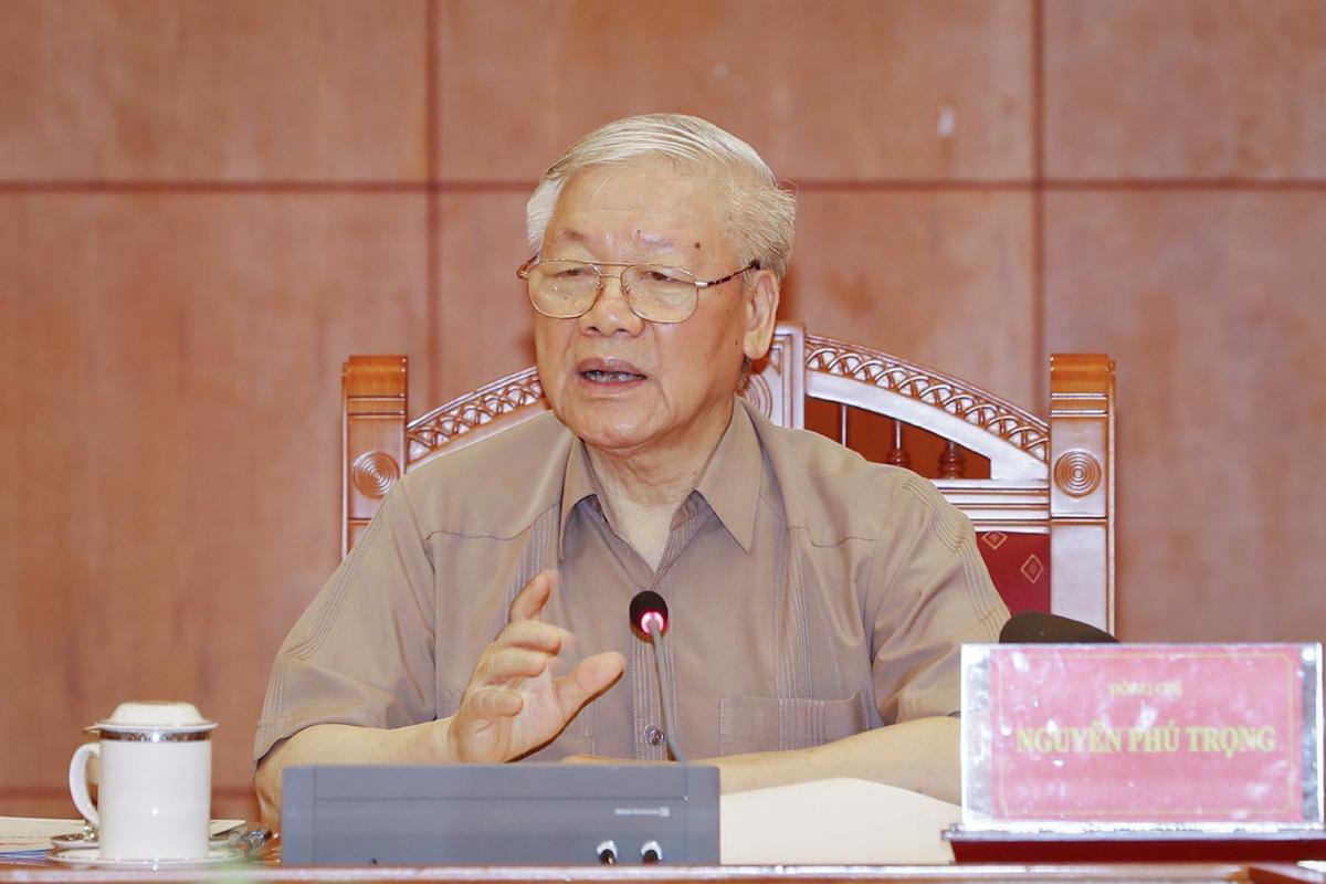 Tổng bí thư, Chủ tịch nước Nguyễn Phú Trọng chủ trì cuộc họp của Ban Chỉ đạo trung ương phòng chống tham nhũng trong sáng 26/5. Ảnh: Chinhphu.vn