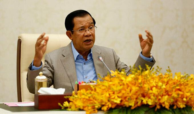 Thủtướng Campuchia Hun Sen phát biểu ở Phnom Penh hôm 30/1. Ảnh:KT/Siv Channa.
