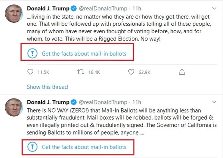Nhãn dán cảnh báo trong các bài viết của Trump trên Twitter. Ảnh chụp màn hình.