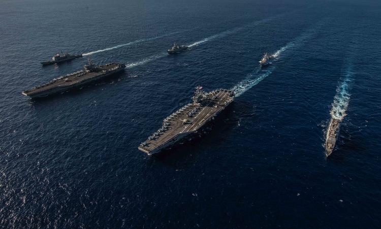 Hai nhóm tàu sân bay Mỹ diễn tập trên Thái Bình Dương hồi tháng 11/2018. Ảnh: US Navy.