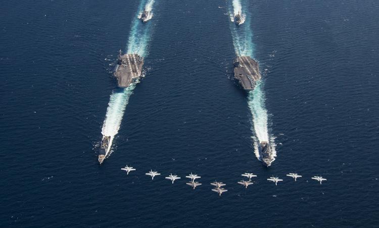 Hai nhóm tàu sân bay Mỹ phô diễn lực lượng trên Đại Tây Dương tháng 8/2018. Ảnh: US Navy.