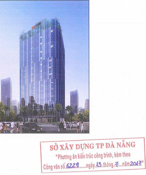 Phương án kiến trúc toà nhà SHB được Sở Xây dựng Đà Nẵng thẩm định là màu kính xanh.
