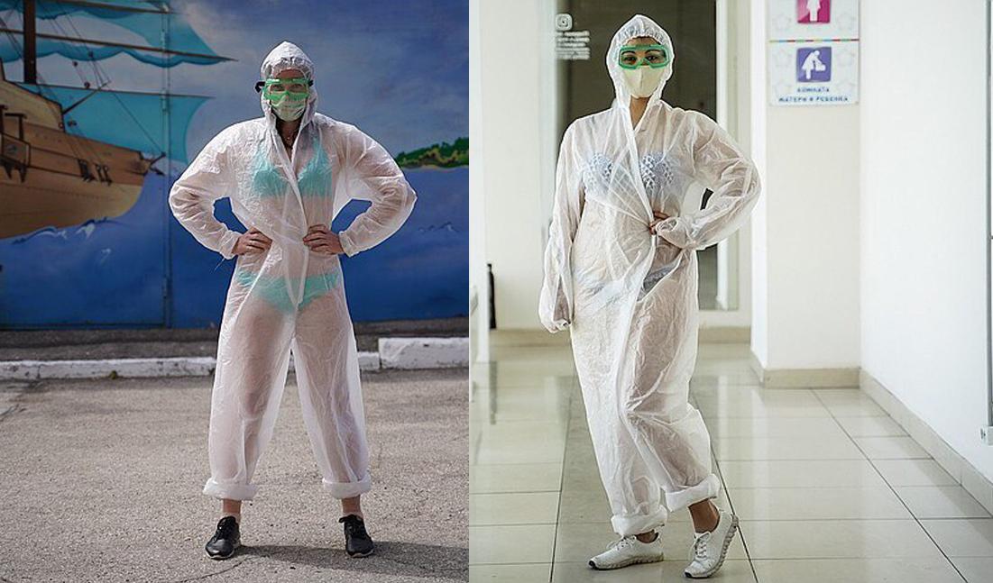 Các phụ nữ Samara mặc bikini dưới áo bảo hộ để trải nghiệm và bày tỏ ủng hộ y tá Nadia. Ảnh: KP Samara