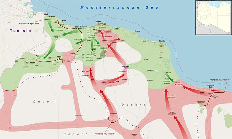 Bản đồ hướng tiến công của GNA (màu xanh lá cây) và LNA (màu đỏ) tại miền tây Libya. Đồ họa: Wikimedia Commons/r016.
