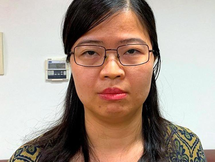 Nguyễn Thị Kim Anh tại cơ quan điều tra. Ảnh: Công an cung cấp