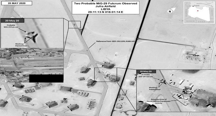 [Hai tiêm kích MiG-29 xuất hiện ở căn cứ Al Jufra hôm 20/5. Ảnh: AFRICOM.