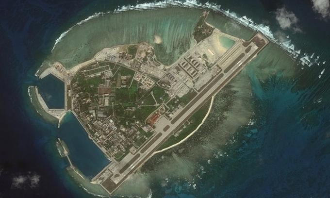 Ảnh vệ tinh đảo Phú Lâm thuộc quần đảo Hoàng Sa của Việt Nam. Ảnh: CSIS.