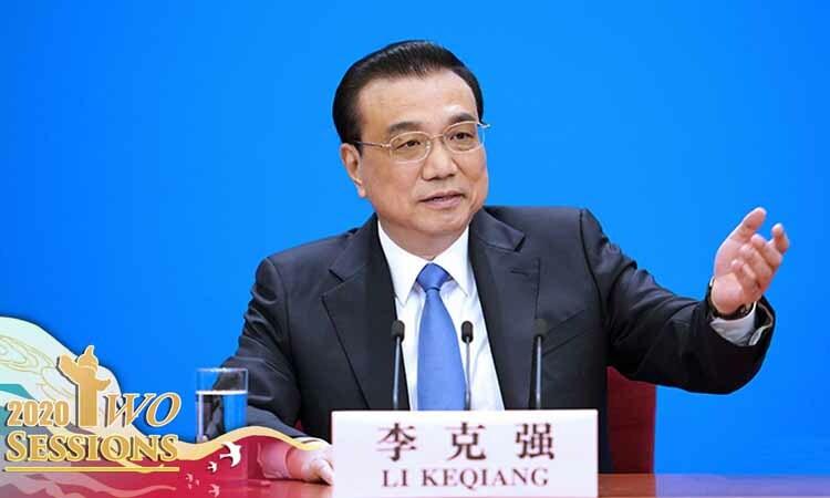 Thủ tướng Trung Quốc Lý Khắc Cường tại buổi họp báo ở Bắc Kinh hôm nay. Ảnh: CGTN.