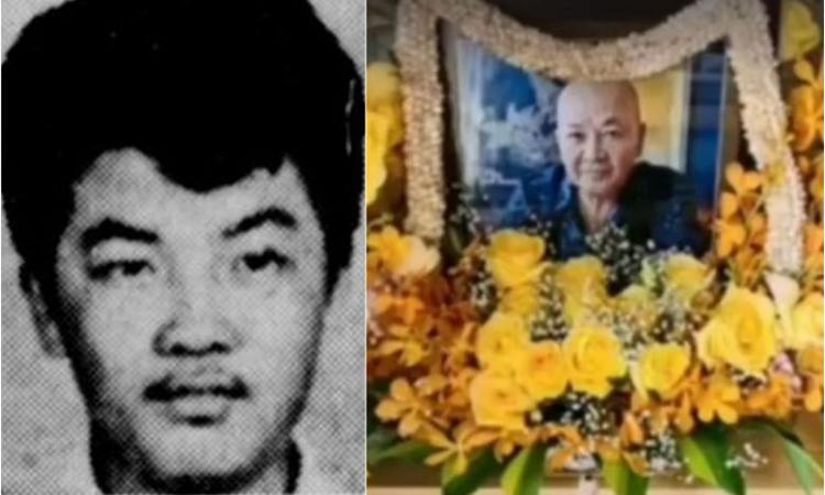 Tan Tong Meng trong bức ảnh đăng hồi tháng 4/1970 (trái) và lễ tang ở Đan Mạch tháng trước. Ảnh: Straits Times.