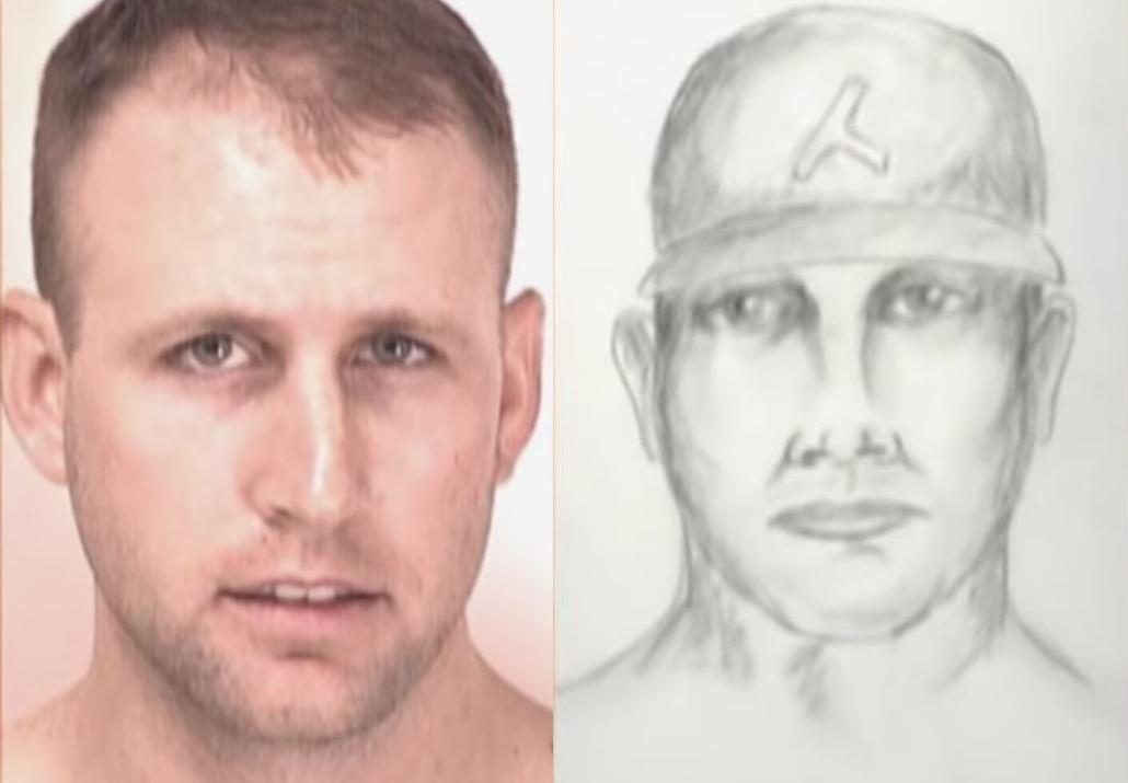 David Allen Shoei (trái) và bản khắc họa nghi phạm của cảnh sát. Ảnh: Filmrise.