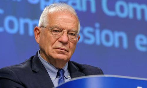 Josep Borrell, đại diện cấp cao về chính sách đối ngoại của EU, trong một cuộc họp báo qua video tại Brussels, Bỉ hôm 26/5. Ảnh: Reuters.