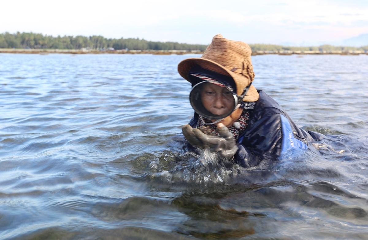 Bà Trần Thị Hoa mang kính lặn lấy rong trong nước. Ảnh: Đắc Thành.
