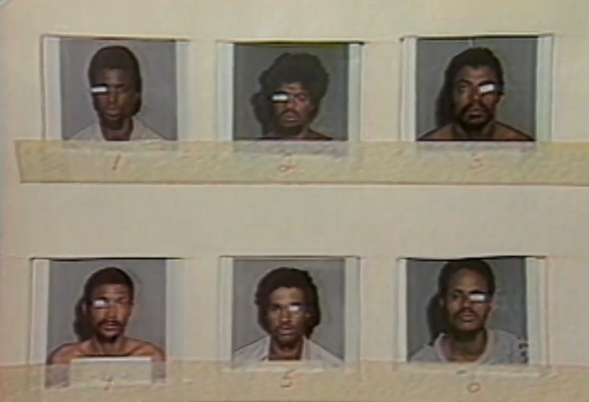 Bộ ảnh nhận dạng do cảnh sát lập nên, Larry Youngblood ở góc trên bên phải. Ảnh: PBS.